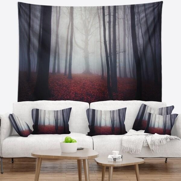 Designart 'Dark Spooky Misty Forest' Landscape Photo Wall Tapestry
