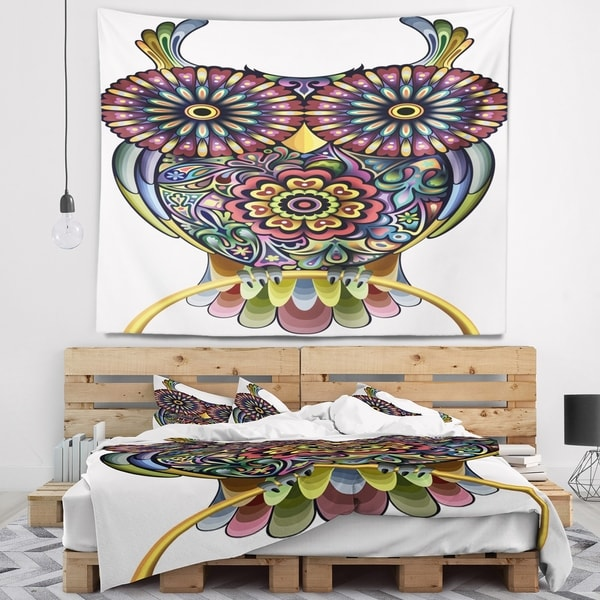 Designart 'Funny Owl' Animal Wall Tapestry