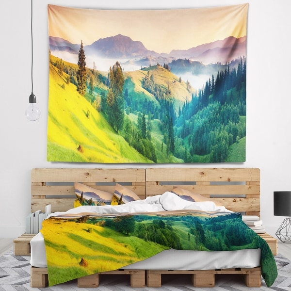 Designart 'Brightly Green and Blue Mountains' Landscape Wall Tapestry