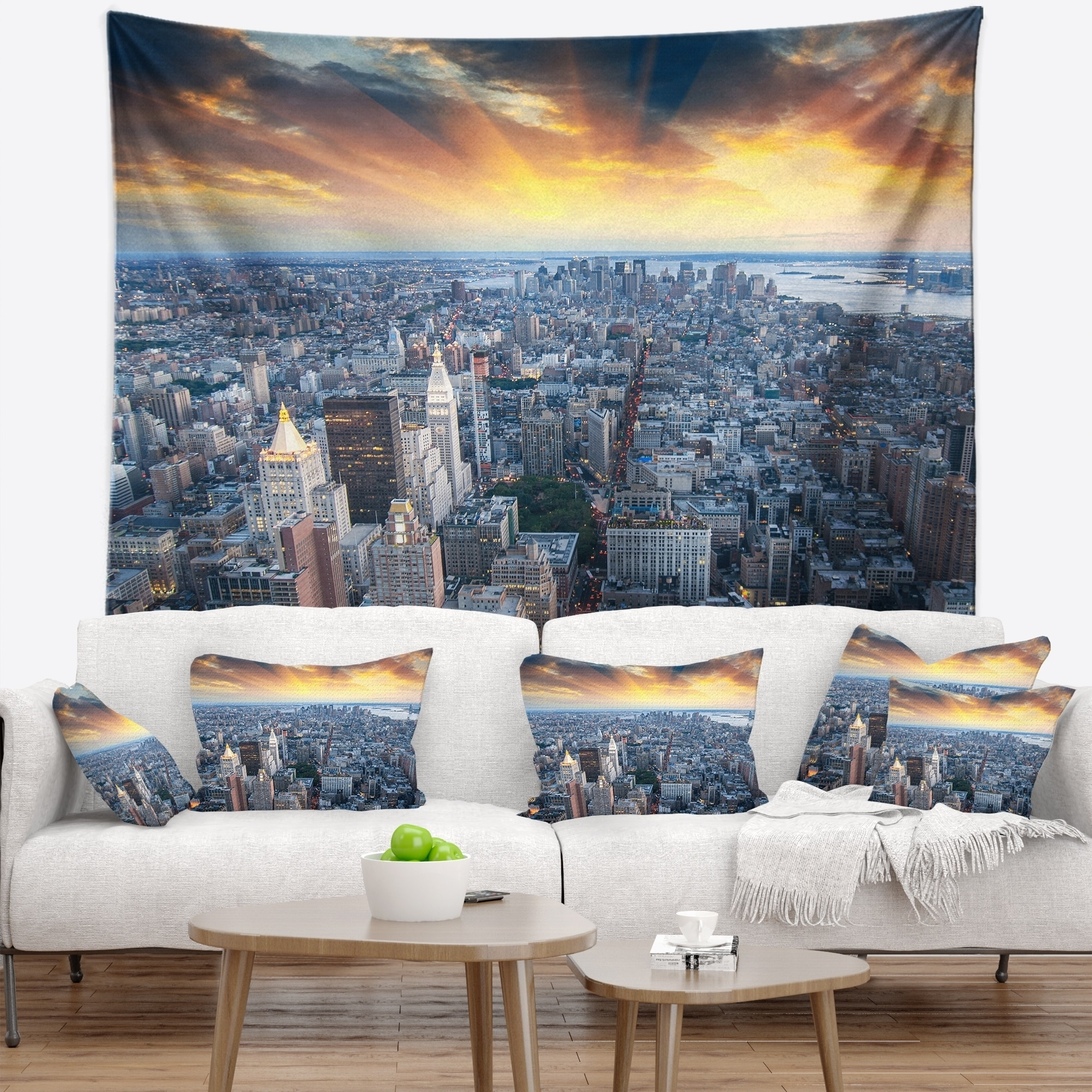 Designart Aerial View Of Nyc Skyscrapers Cityscape Photo Wall Tapestry On Sale Overstock 20922442
