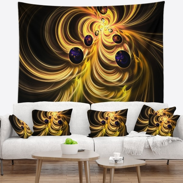 Designart 'Yellow Fractal Flames' Contemporary Wall Tapestry