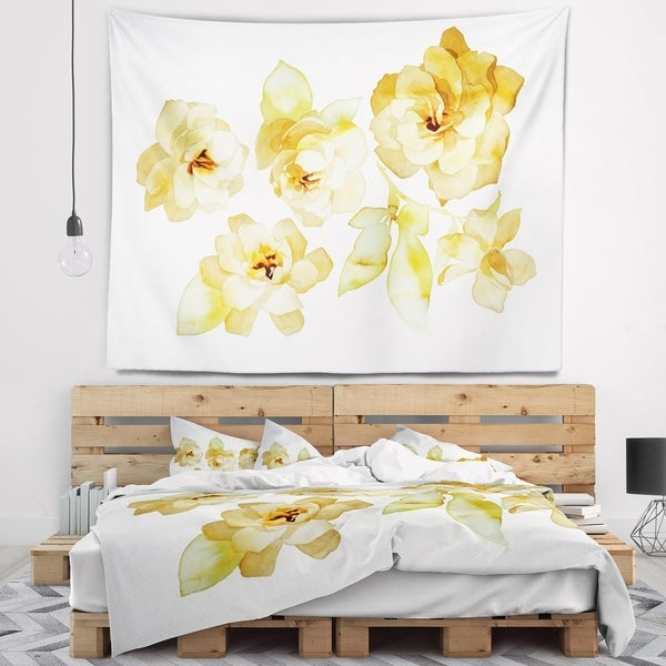Designart 'Brown Flowers with White Shade' Floral Wall Tapestry