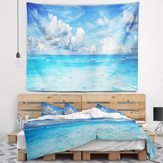 Designart 'Bright Blue Waters and Sky Panorama' Modern Seascape Wall Tapestry