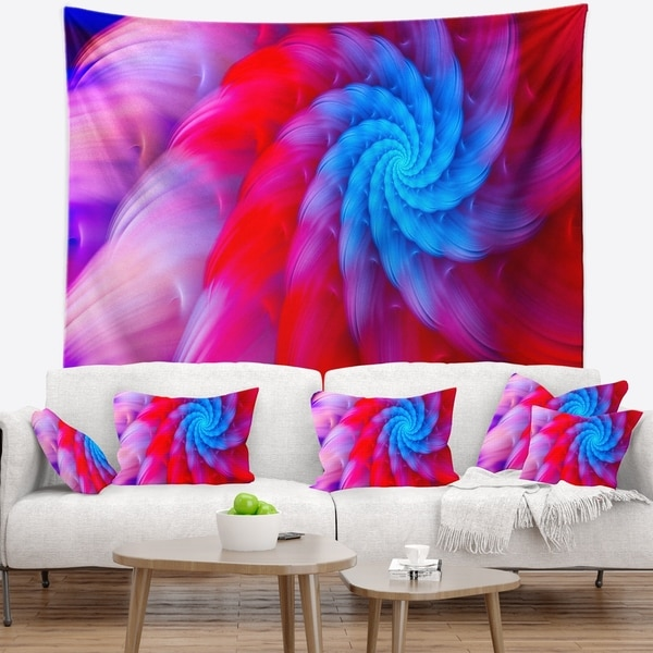 Designart 'Rotating Red Pink Fractal Flower' Floral Wall Tapestry