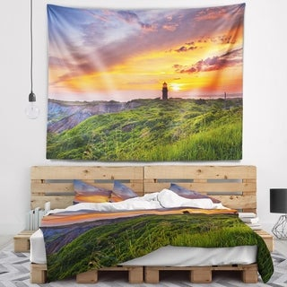 Designart 'Lighthouse at Gorgeous Sunset' Landscape Wall Tapestry