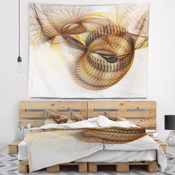 Designart 'Abstract Brown Spiral Texture' Abstract Wall Tapestry