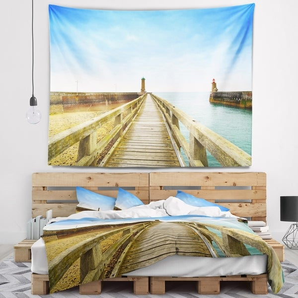 Designart 'Pier and Lighthouse France' Seascape Wall Tapestry