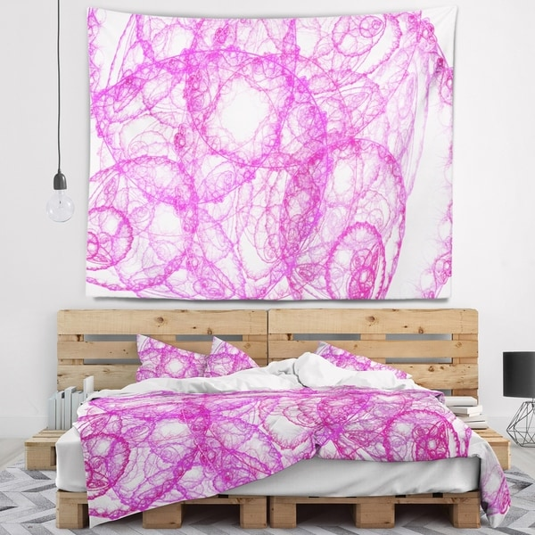Designart 'Pink Pattern on White Background' Abstract Wall Tapestry