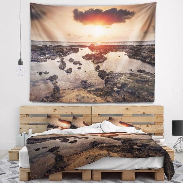 Designart 'Rocky Coastline Sunset Africa' Oversized Beach Wall Tapestry