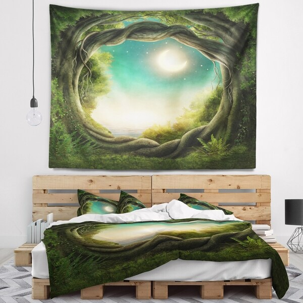 Designart 'Enchanted Dark Forest' Landscape Photography Wall Tapestry