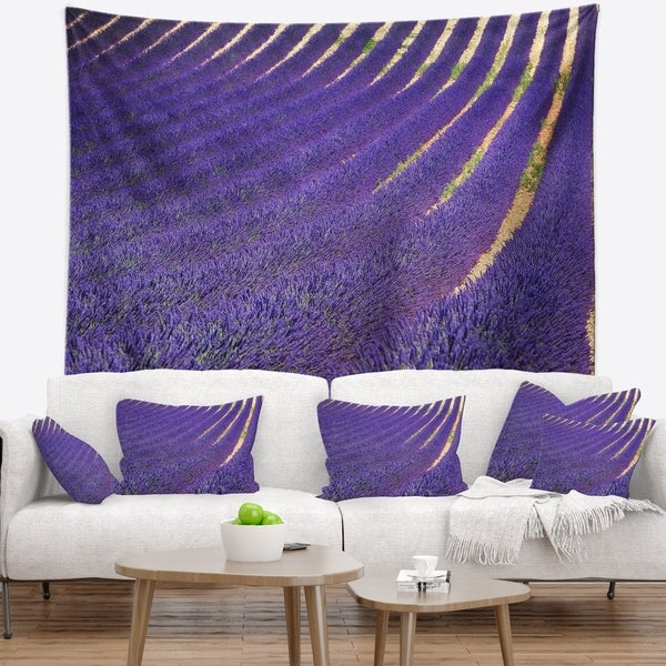 Designart 'Lavender Blooming Fields as Texture' Landscape Wall Wall Tapestry