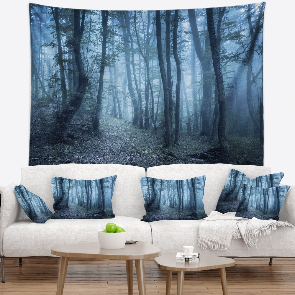 Designart Spring Foggy Forest Trees Landscape Photography Wall Tapestry 60 In X 50 In Shefinds