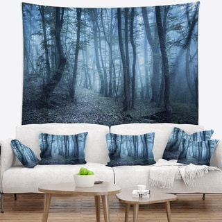 Designart 'Spring Foggy Forest Trees' Landscape Photography Wall Tapestry