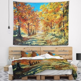 Designart 'Bright Day in Autumn Forest' Landscape Wall Tapestry