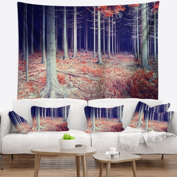 Designart 'Beautiful Fall Forest Panorama' Landscape Wall Tapestry