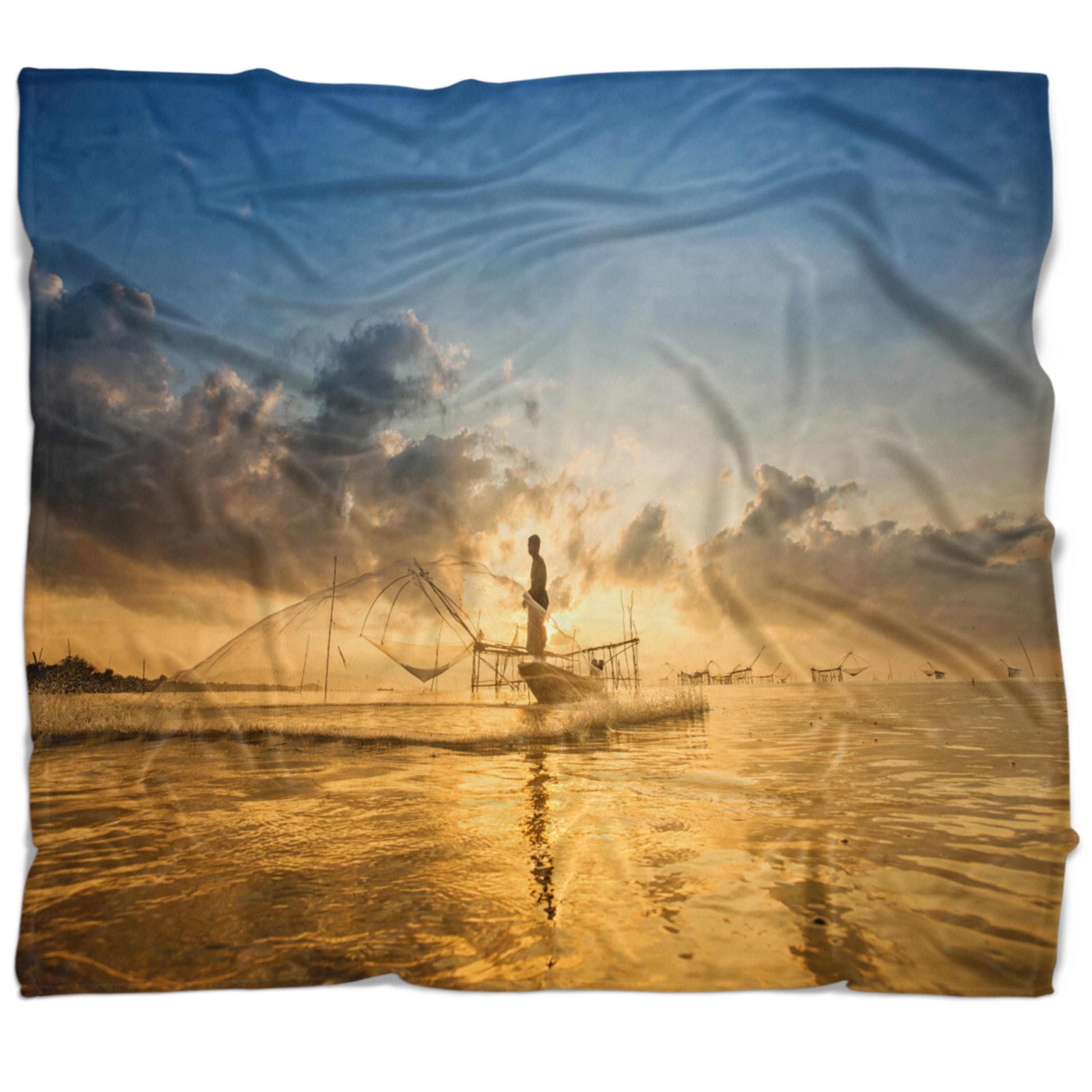 Designart Pakpra With Fisherman At Sunrise Landscape Fleece Throw Blanket On Sale Overstock 20922585 71 In X 59 In
