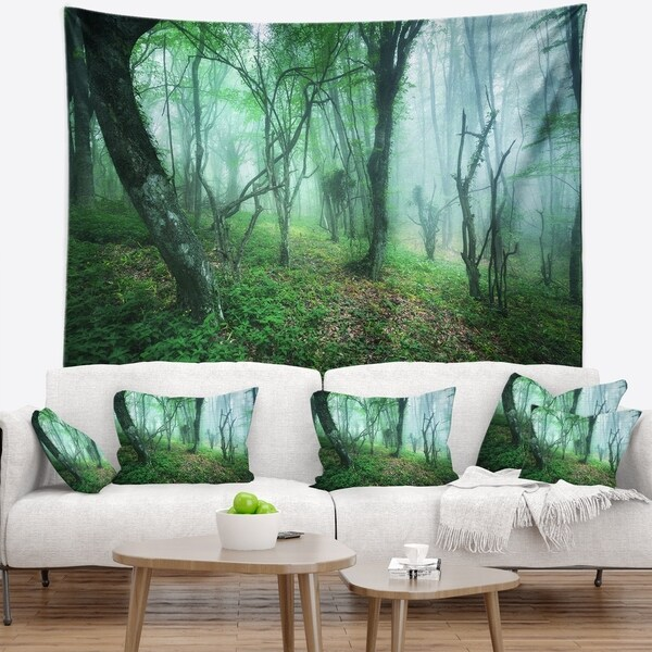 Designart 'Trail Through Green Forest' Landscape Photography Wall Tapestry
