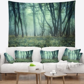 Designart 'Trail Through Foggy Forest' Landscape Photo Wall Tapestry