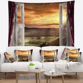 Designart 'Open Window to Rural Landscape' Contemporary Wall Tapestry