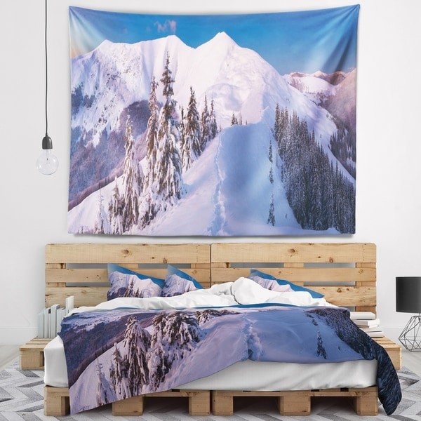 Designart 'Frosty Winter Carpathians View' Landscape Wall Tapestry