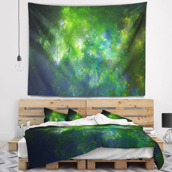 Designart 'Green Fractal Sky with Blur Stars' Abstract Wall Tapestry