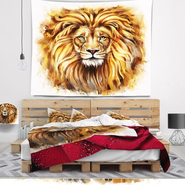 Designart 'Angry King of Forest' Animal Wall Tapestry