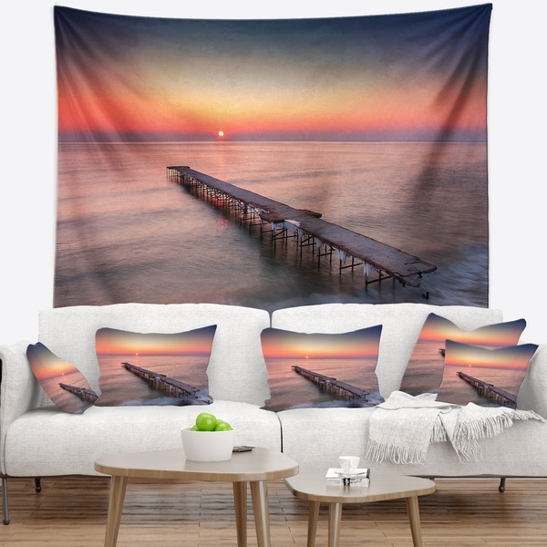 Designart 'Long Exposure Sea and Shore' Sea Bridge Wall Tapestry