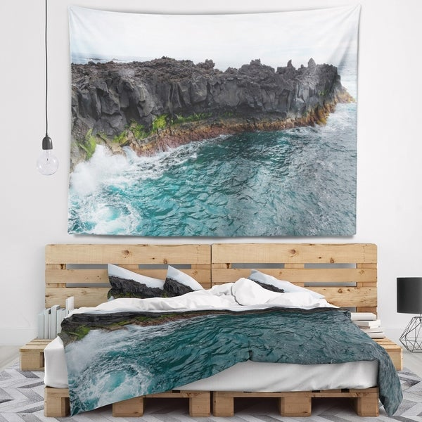 Designart 'Rocky Coast with Moss in Azores' Seashore Wall Tapestry