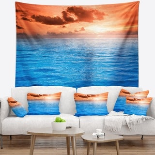 Designart 'Brilliant Blue Waters under Sunset' Seascape Wall Tapestry