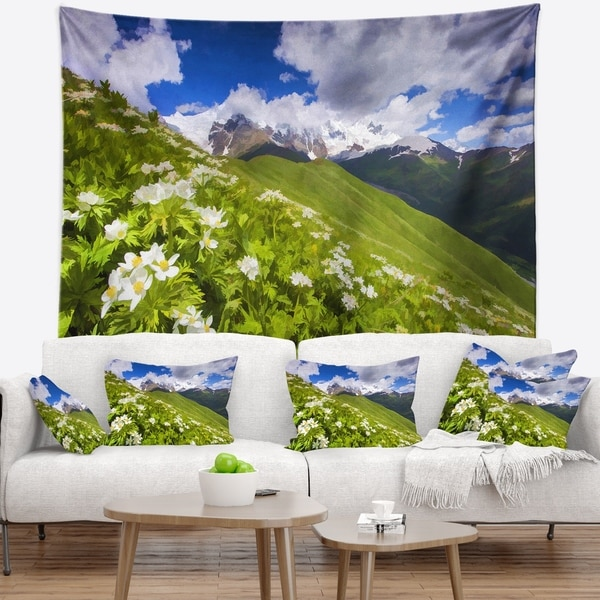 Designart 'Blossom Flowers in Mountains' Landscape Wall Tapestry
