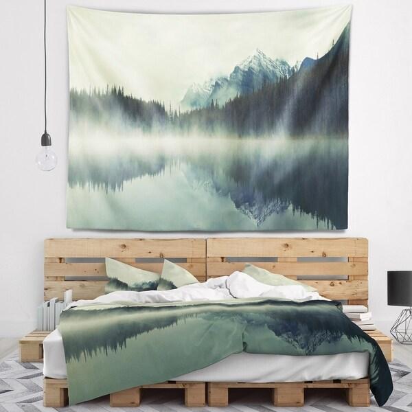 Designart 'Lake Herbert in Foggy Morning' Modern Seascape Wall Tapestry