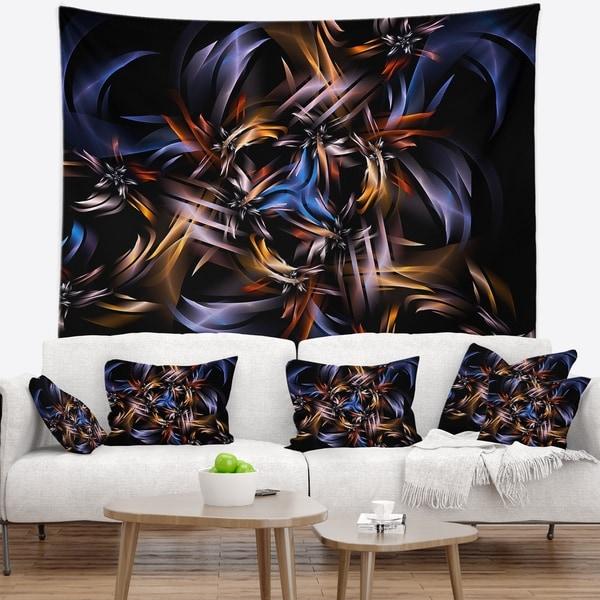 Designart 'Blue Fractal Light Art in Dark' Contemporary Wall Tapestry