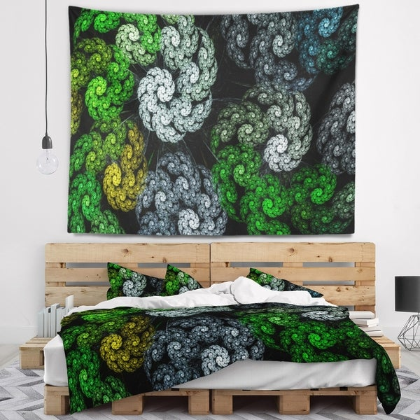 Designart 'Bright Exotic Spiral Flowers' Abstract Wall Tapestry