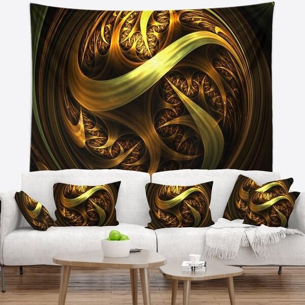 Designart 'Golden Fractal Sphere in Dark' Abstract Wall Tapestry