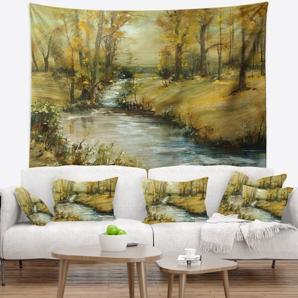 Designart 'Brook in Autumn Oil Painting' Landscape Painting Wall Tapestry