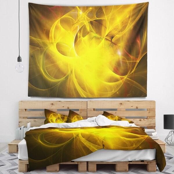 Designart 'Dark Yellow Nebula Star' Abstract Wall Tapestry