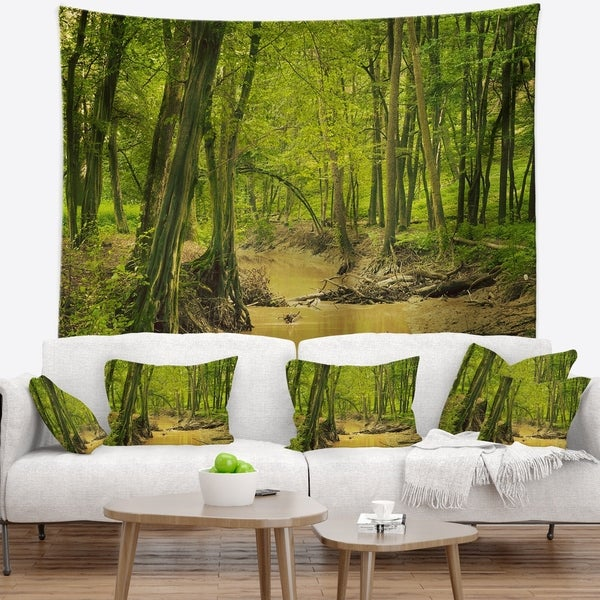 Designart 'Creek in Wild Green Forest' Oversized Forest Wall Tapestry