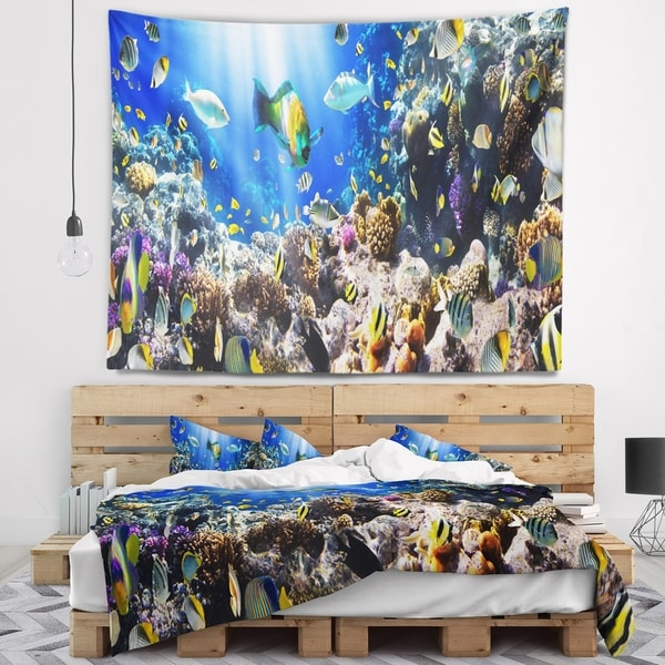 Designart 'Coral Colony and Coral Fish' Seascape Wall Tapestry
