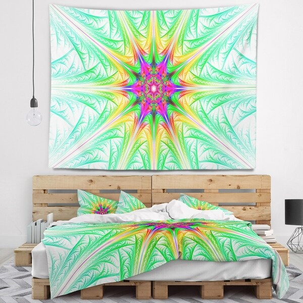 Designart 'Green Fractal Stained Glass' Abstract Wall Tapestry