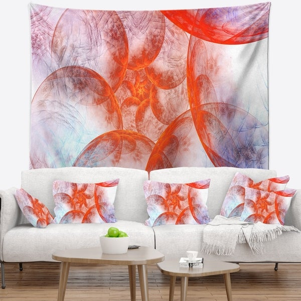 Designart 'Large Red Fractal Circles' Floral Wall Tapestry
