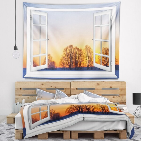 Designart 'Window to Sunset over the Snow' Landscape Wall Wall Tapestry