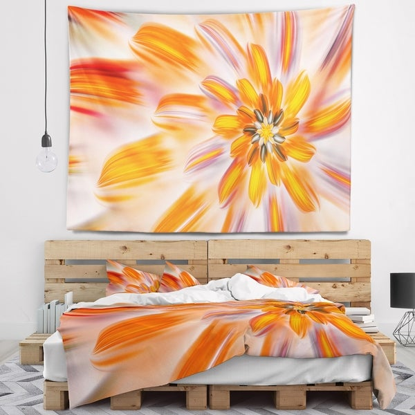 Designart 'Dance of Fractal Yellow Petals' Abstract Wall Tapestry