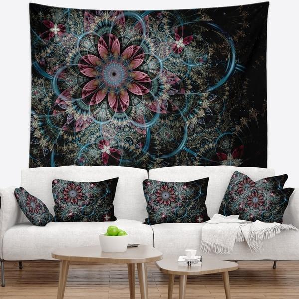 Designart 'Fractal Flower in Dark Blue Digital Art' Floral Wall Tapestry