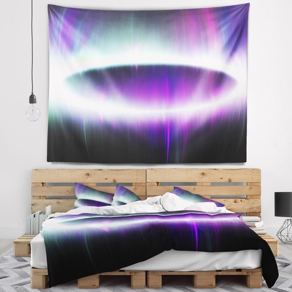 Designart 'Beautiful Purple Northern Lights' Abstract Wall Tapestry