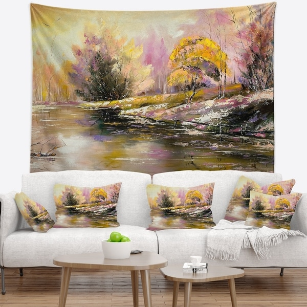 Designart 'River s Farwell to Autumn' Landscape Wall Tapestry