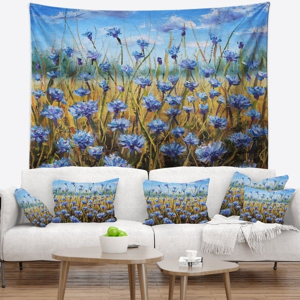 Designart 'Blue Flowers in Meadow Painting' Floral Painting Wall Tapestry