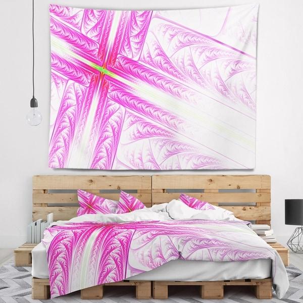 Designart 'Pink Fractal Cross Design' Abstract Wall Tapestry