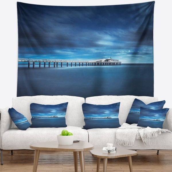 Designart 'Cloudy Sky Calm Blue Waters' Seascape Wall Tapestry