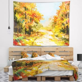 Designart 'Path in Autumn Forest' Landscape Wall Tapestry