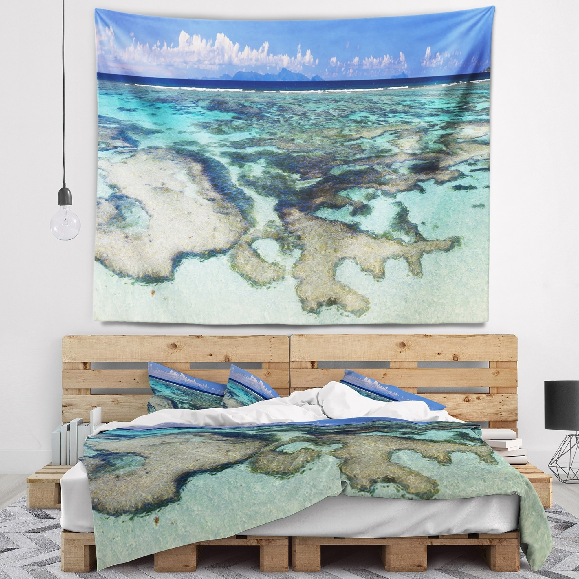 Designart Turquoise Tropical Ocean Waters Modern Seascape Wall Tapestry Overstock 20922901